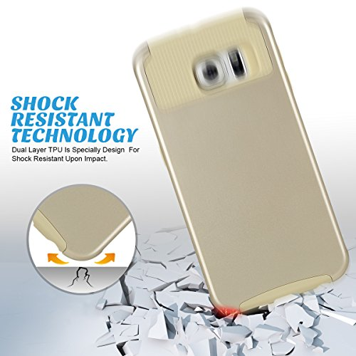 S6 Case, Galaxy S6 Case ULAK Samsung Galaxy S6 Case - [Slim Fit] Fashion 2in1 Hybrid [Dual Layer] Protective Case Cover (Plastic Hard Shell and Fexible TPU) Heavy Duty Protection Shock-Absorption / Impact Resistant Case for Galaxy S6 2015 (Gold)