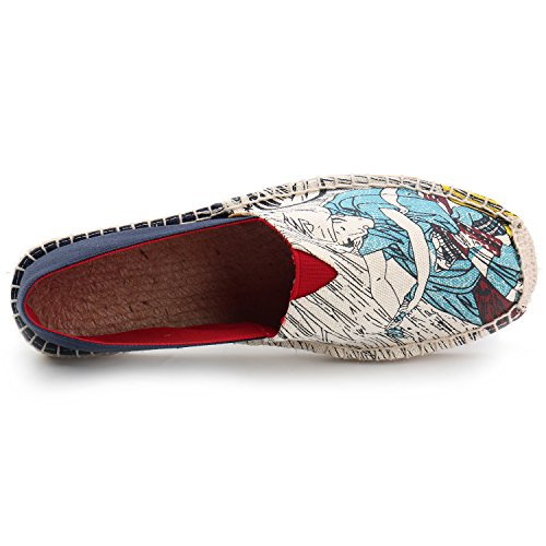 Uomo Espadrillas Paint Art di Tela On Slip Kentti Blu per RxCwd8qCf