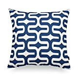 Hofdeco Decorative Throw Pillow Cover PREMIUM Canvas Navy Peony Blue Geometric Embrace 18'x18' 45cm x 45cm