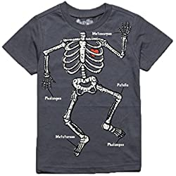 Peek A Zoo Toddler Become an Animal Short Sleeve T shirt - Skeleton Charcoal Grey (5T)