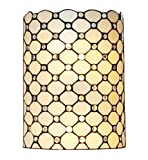 Amora Lighting Tiffany Style Wall Lamp White Jeweled 2 Light Stained Glass Vintage Antique for Hallway Bedroom Living Room 10