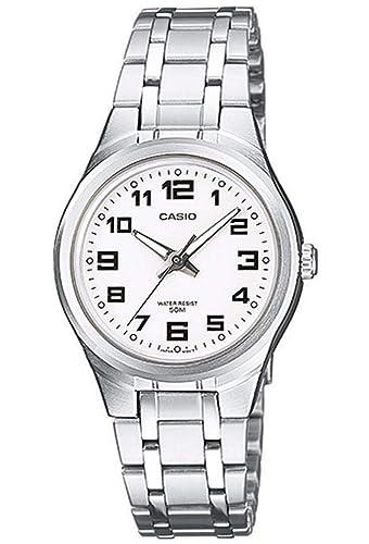 Casio Reloj Analogico para Mujer de Cuarzo con Correa en Acero Inoxidable LTP-1310PD-7BVEF: Amazon.es: Relojes