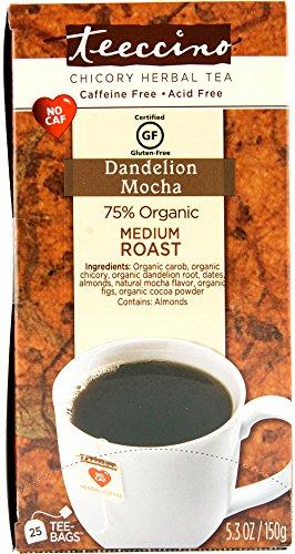 Teeccino Dandelion Mocha Chicory Herbal Tea Bags, Gluten Free, Caffeine Free, Acid Free, 25 Include