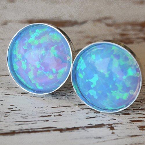 Opal Stud Earrings 6mm Round Sterling Silver Light Blue Opal Minimalist Stud Earrings