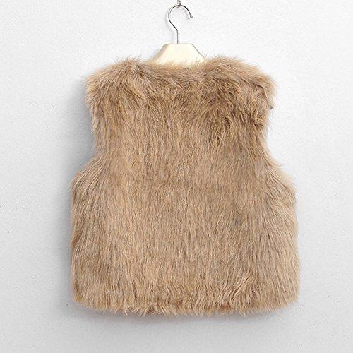 Calda Da Yvelandsnbsp;gilet Donna Giacca Trench Coat Senza Sintetica Lunga Pelliccia In Pioggia Maniche Invernale CappottoCachi HDE9W2I