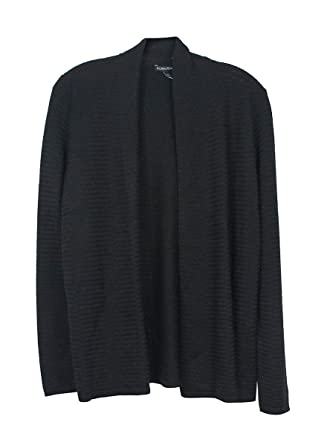 bf9a43fde6ff8d Eileen Fisher Black Open Front Simple Cardigan at Amazon Women s ...