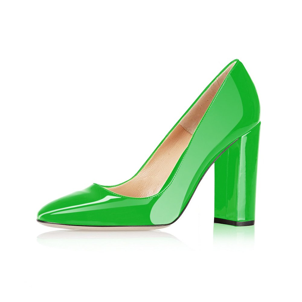 Modemoven Women's Sexy Patent Leather Round Toe Block Heels Pumps Gorgeous Evening Party Stiletto Shoes B071DZ48GC 6 B(M) US|Green