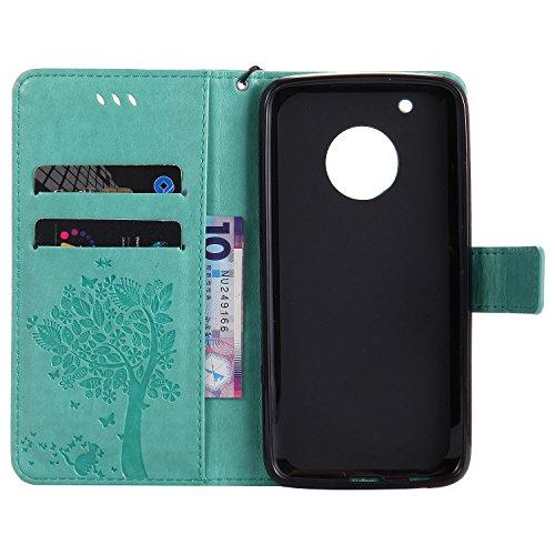 Motorola Moto G5 Plus Hülle, Motorola Moto G5 Plus Hülle Leder Case,Cozy Hut Premium Handy Schutzhülle für Motorola Moto G5 Plus Hülle Leder Wallet Tasche Flip Brieftasche Etui Schale , PU Schutz Etui grün