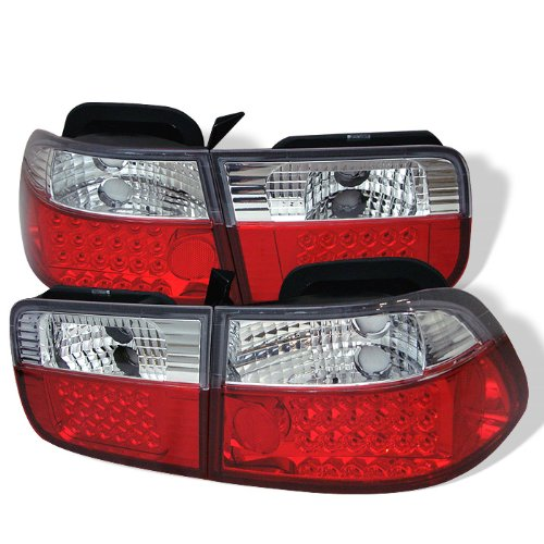Honda Civic 2dr Plug - Spyder Honda Civic 96-00 2Dr LED Tail Lights - Red Clear