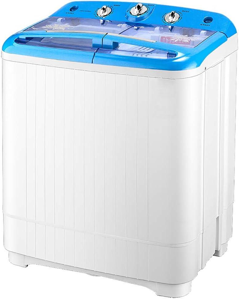 Mini lavadora portátil compacta de doble bañera y ciclo de centrifugado, capacidad de lavado de 5.2 kg + secadora de centrifugado de capacidad de deshidratación de 3.5 kg (61 * 36.6 * 72.3 cm)