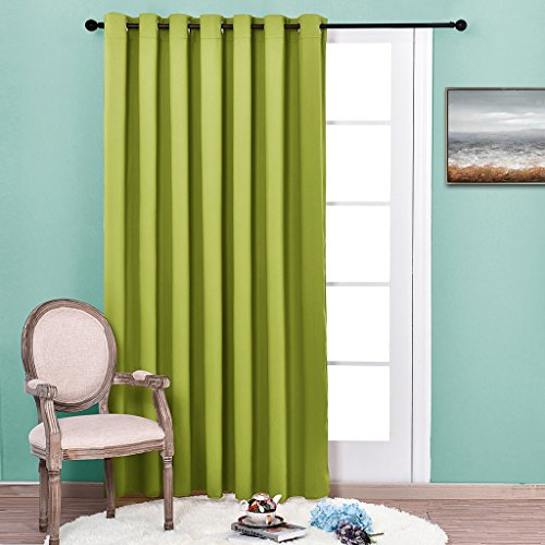 Nicetown Blackout – Premium Wide Width Thermal Insulated Solid Grommet Blackout Curtain Panel – W100 x L84 – Fresh Green – 1 Piece