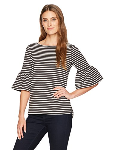 Lark & Ro Women's 3/4 Bell Sleeve Boat Neck Top, Graphite/Ivory Stripe, Extra Large (Bells Holiday Top)