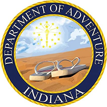 Indiana Sticker - The in Department of Adventure State Seal  Designed to  Look Like a Patch, This Vinyl Sticker is 3 5