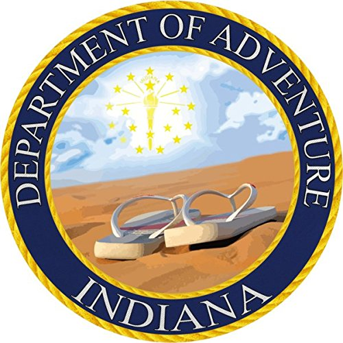 Indiana Sticker Department of Adventure State SeaVinyl Decal Label Stickers, Die-Cut Shape for Water Bottle Laptop Luggage Bike Laptop Car Bumper Helmet Waterproof Show Love Pride Local Spirit