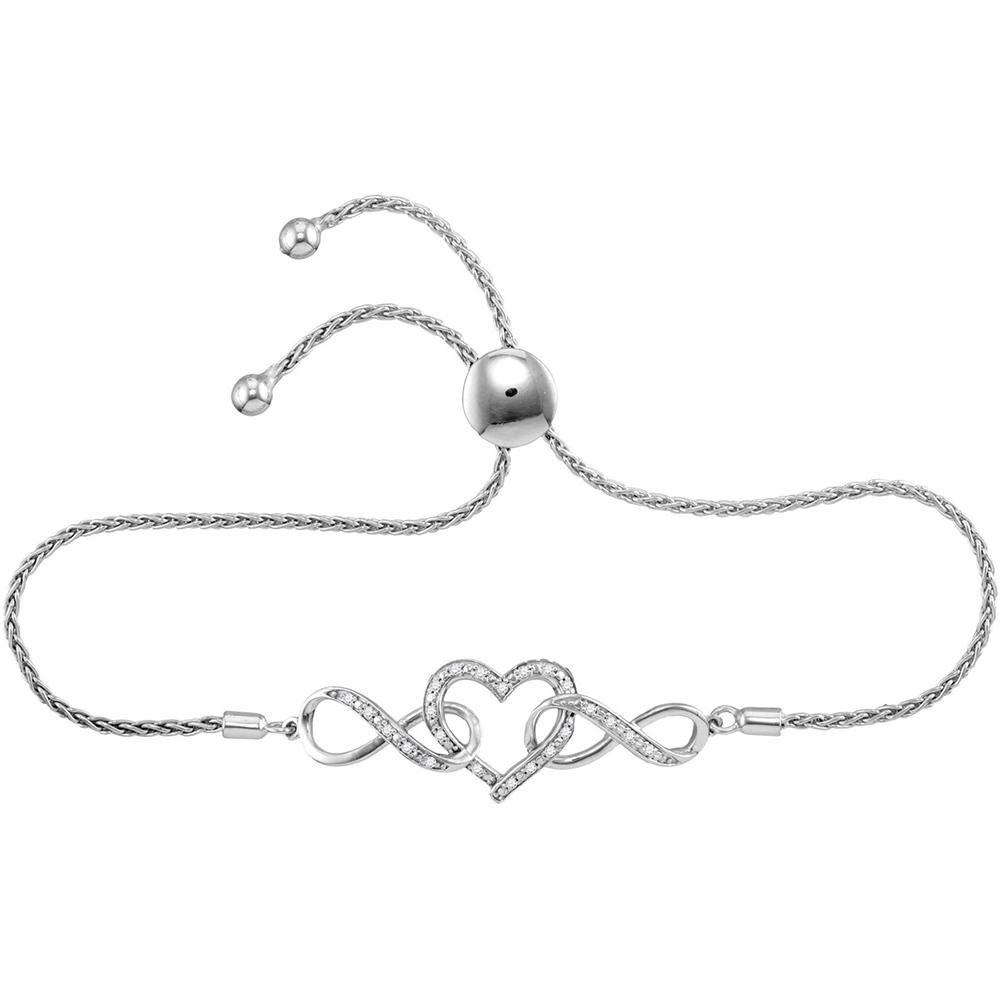 Sterling Silver Womens Round Diamond Infinity Heart Bolo Bracelet 1 6 Cttw