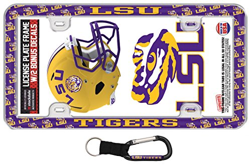 (Stockdale NCAA LSU Tigers License Plate Frame 4 Item Gift Pack, 1 License Plate Frame Thin Rim, 1 Carabiner Key Ring, and 2 Decals)