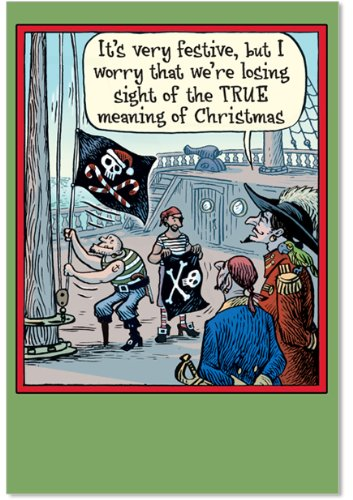 12 'Losing Sight' Boxed Christmas Cards with Envelopes 4.63 x 6.75 inch, Funny Pirate Cartoon Christmas Notes, Hilarious Jolly Roger Holiday Notes, Humorous Christmas Stationery B5906 -