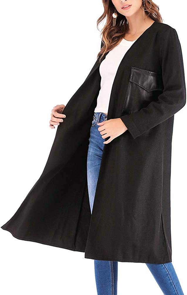 Womens Long Coats Winter Plaid Cardigan Jackets with Pocket Cotton Coats for Women Ladies