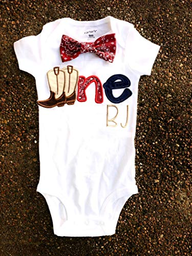 (Boy first birthday Cowboy Boots red bandana Western birthday baby boy western cake smash Paisley one year outfit birthday outfit Farm Rodeo birthday shirt family shirts)