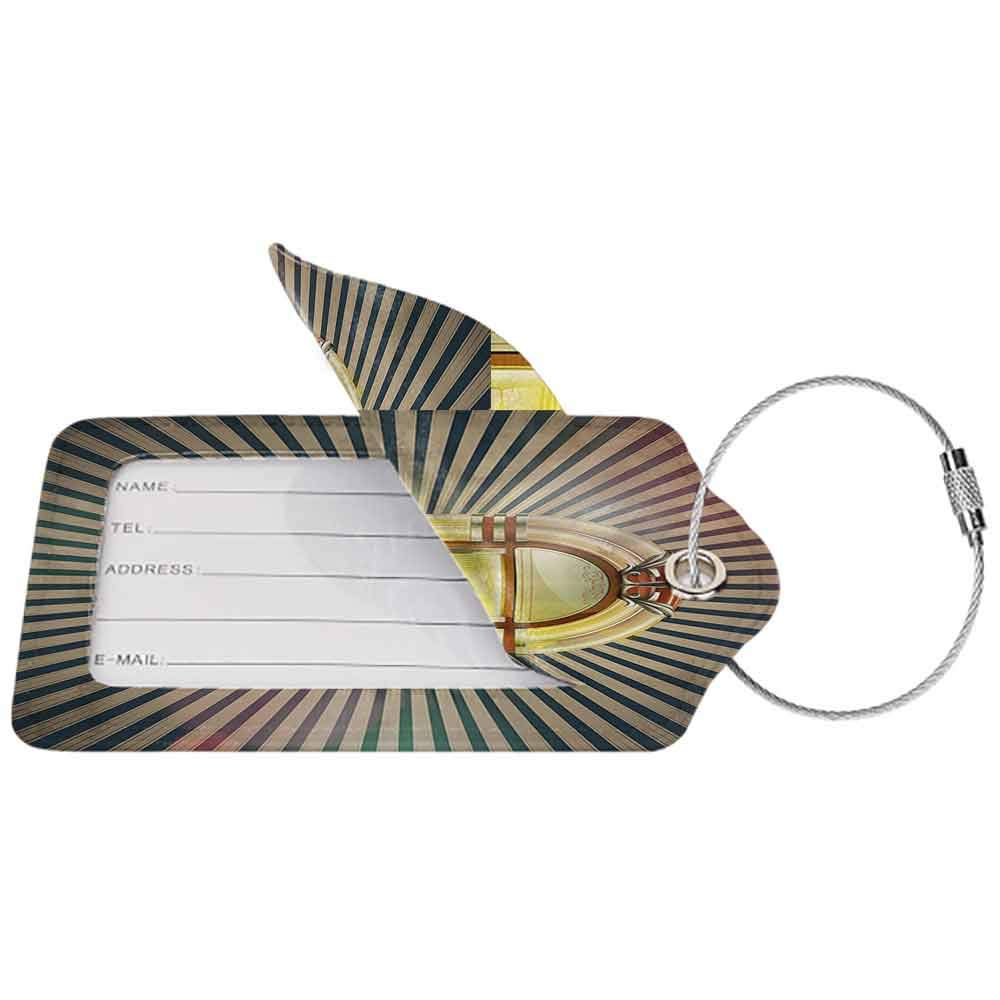 Flexible luggage tag Jukebox Retro Vintage 50s Pin Up Inspired Striped Backdrop Old Music Box Fashion match Brown Beige and Petrol Green W2.7 x L4.6