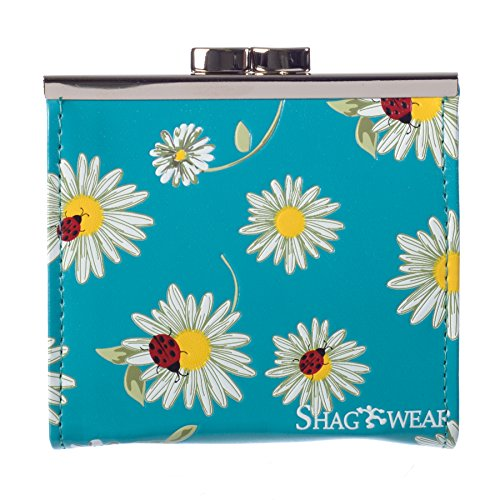 Shag Wear Women's Coin Purse TURQUOISE DAISIES AND -