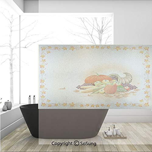 3D Decorative Privacy Window Films,Maple Tree Frame with Rustic Composition for Thanksgiving Halloween Dinner Food,No-Glue Self Static Cling Glass film for Home Bedroom Bathroom Kitchen Office 36x24 I]()