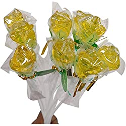 12 Inch Long Roses Shaped Lollipops Suckers- 10 COUNT Bendy Flexible Sticks (Yellow)