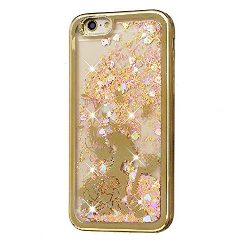 Crisant Flüssig Fließende Bling Gold Mädchen Design schutzhülle Hülle für Apple iPhone 5 5S / SE,Netter kleiner Bär Luxury Tasche Schutz weich Silikon TPU Transparent Back Handy Case Cover Schale für