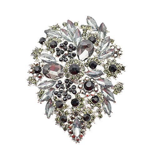 Large Multicolor Diamond Rhinestone Crystal Flower Brooch Pin For Women (Black Rhinestone Flower Brooch)