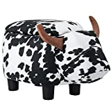 Black and White Ottoman Merax Have-Fun Series Upholstered Ride-on Storage Ottoman Footrest Stool with Vivid Adorable Animal-Like Features (Black and White Cow)