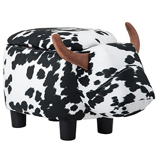 Merax Have-Fun Series Upholstered Ride-on Storage Ottoman Footrest Stool with Vivid Adorable Animal-Like Features (Black and White Cow) (Cow Ottoman Print)