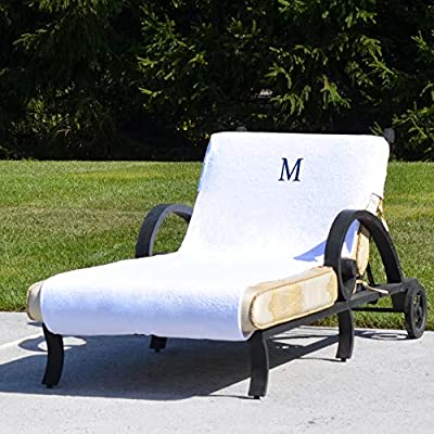Authentic Hotel and Spa Turkish Cotton Monogrammed Towel Cover for Standard Size Chaise Lounge Chair White/K: Home & Kitchen