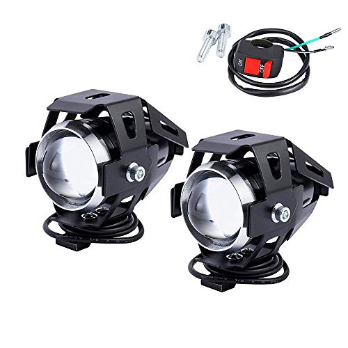 Motorcycle Headlight Motorbike U5 LED Fog Lamp Front Spot Light DRL Spotlight Driving Daytime Lights with On Off Switch 2PCS