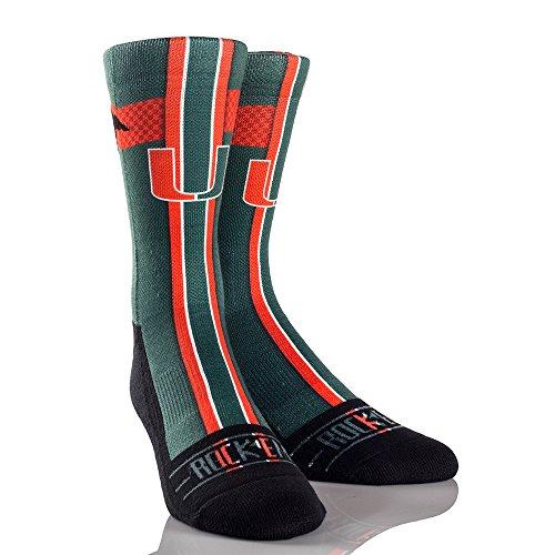 Miami Hurricanes Basketball - NCAA Miami Hurricanes Jersey Series University Custom Athletic Crew Socks, Large/X-Large, Green