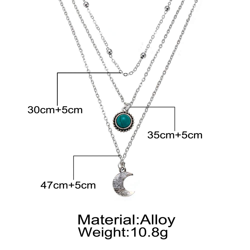 Bracet Layered Necklace Pendant Cubic Zirconia Flower Round Turquoise Moon Tassel Beads Chain Girls Women Jewelry Set