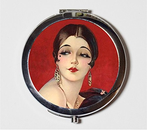 Flapper Art Deco Compact Mirror Vintage Illustration Jazz Age 1920s Make Up Pocket Mirror for Cosmetics