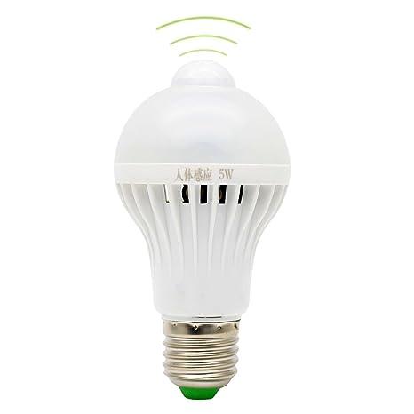 E27 Bombilla Sensor 5W Detector de Movimiento LED Sensor Movimiento Luz Blanco Frío 6500K Super Brillante