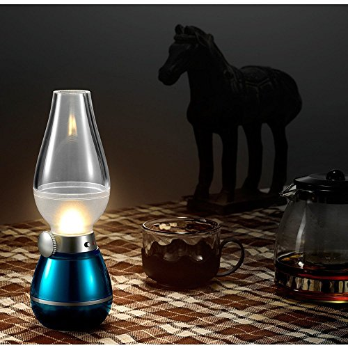 BearsFire USB Rechargable LED Blowing Control Kerosene Candle Lamp Nostalgia Retro Style LED 0.4W Adjustable Portable Night Light Desk Lamps Dimming Knob for Home Camping barbecue journey (Blue) by BearsFire (Image #4)