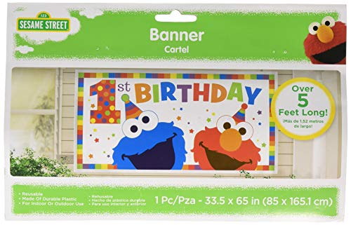 Amscan Sesame Street Elmo Turns One Horizontal Giant Sign Banner, Birthday]()