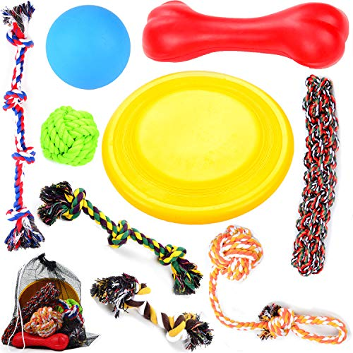 Large Puppy Dog Chew Toys 10 Value Pack , for Medium and Large Dogs - for Aggressive Chewers , 3 Dog Toys Natural Rubber (Dog Frisbee, Dog Toys Bone, Dog Ball) , 6 Dog Toys Rope, Youngever by Youngever