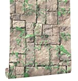 HaokHome 8501 Brick Wallpaper Rolls Lt.Brown/Green Grass Leaves Stone Murals Home Kitchen Bathroom Decoration 20.8'' x 393.7''