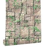 HaokHome 8501 Brick Wallpaper Rolls Lt.Brown/Green Grass Leaves Stone Murals Home Kitchen Bathroom Decoration 20.8'' x 393.7''