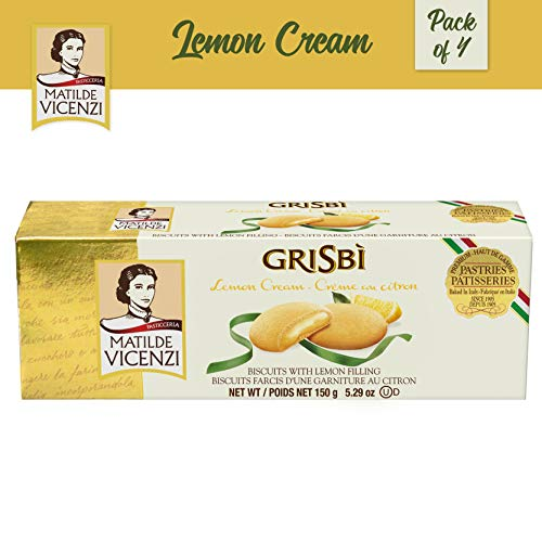 Matilde Vicenzi, Grisbi Lemon Cream (150g Box, 4-pack), Lemon Filled Vanilla Patisserie Pastry Cookie, Dairy, Kosher, Made in Italy
