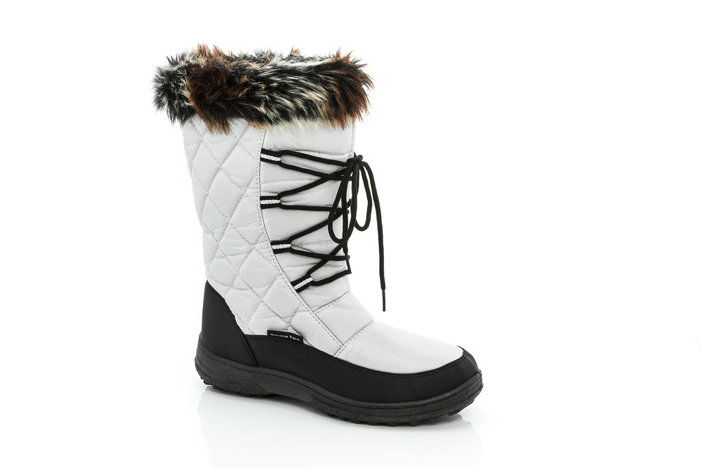 SNOW TEC Womens Frost2 Quilted Faux Fur-Lined Lace Up Winter Snow Boots White Size 8