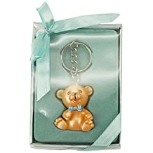 Firefly Imports Baby Shower Party Favor Polyresin Baby Teddy Bear Key Chain, Light Blue
