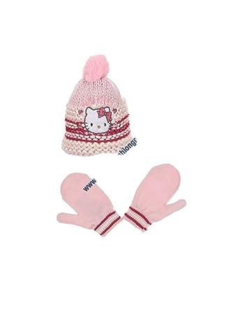 0b304b01a315 Hello kitty Bonnet maille et moufles bébé enfant fille Rose et Violet de  9mois à 3ans  Amazon.fr  Vêtements et accessoires