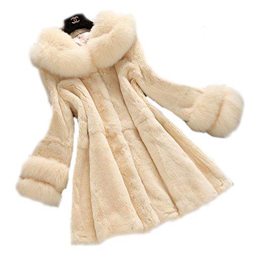 Queenshiny Women's 100% Real Rex Rabbit Fur Coat with Fox Collar-Beige-L(12-14)