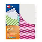 #4: Avery Big Tab Insertable Plastic Dividers with Pockets, 5 Tabs, 1 Set, Assorted Fashion Designs (07708)