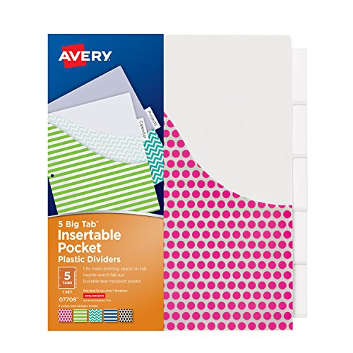 Avery Big Tab Insertable Plastic Dividers with Pockets, 5 Tabs, 1 Set, Assorted Fashion Designs (07708) - Decorative Pockets