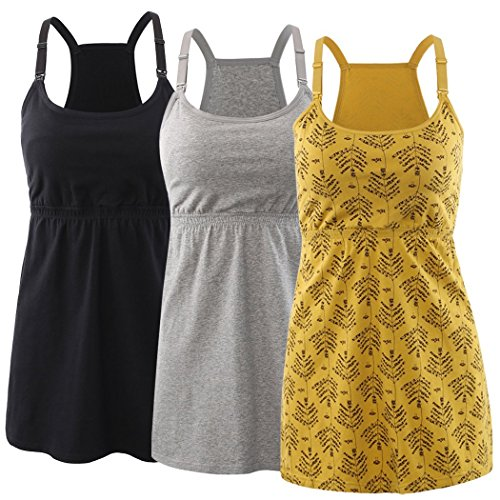 KUCI Maternity Nursing Top Tank Cami, Women Maternity Nursing Sleep Bra Breastfeeding Tops for Pregnancy ()